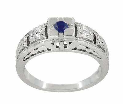 Art Deco Engraved Blue Sapphire Band Ring in Sterling Silver - Item SSR160S - Image 2