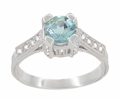 Art Deco Engraved Castle 1 Carat Aquamarine Engagement Ring in 18 Karat White Gold - Item R664A - Image 2