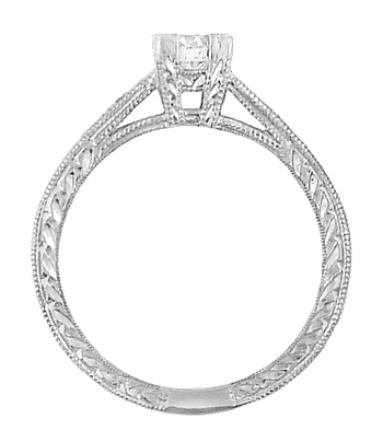 Art Deco Engraved Diamond Engagement Ring in Platinum - Item R408D - Image 2