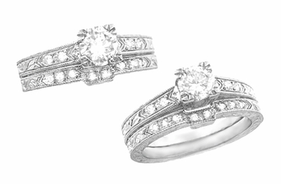Art Deco Engraved Diamond Engagement Ring in Platinum - Item R408D - Image 3