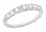 Art Deco Engraved Diamond Wedding Band in 18K White Gold | 1920s Vintage Replica