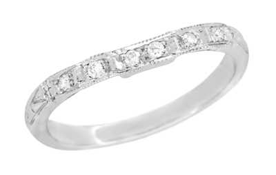 Art Deco Engraved Diamond Wedding Ring in 14 Karat White Gold