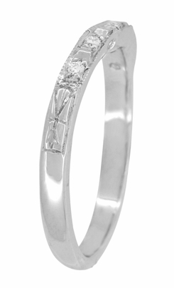 Art Deco Engraved Diamond Wedding Ring in 14 Karat White Gold - Item WR155W14 - Image 2