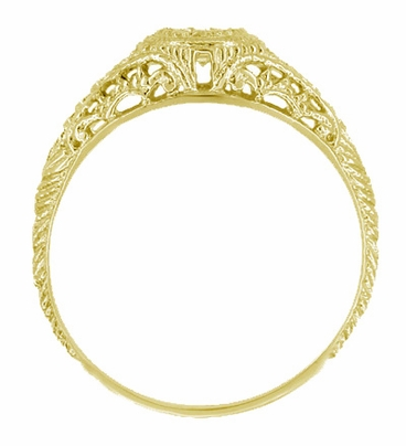 Art Deco Engraved Filigree 1/3 Carat Diamond Engagement Ring in 18K Yellow Gold - Item R464Y - Image 1