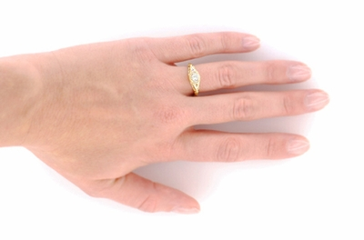 Art Deco Engraved Filigree 1/3 Carat Diamond Engagement Ring in 18K Yellow Gold - Item R464Y - Image 2