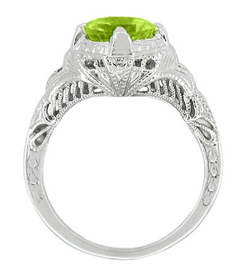 Art Deco Engraved Filigree 1.5 Carat Peridot Engagement Ring in 14 Karat White Gold - Item R161WPER - Image 1