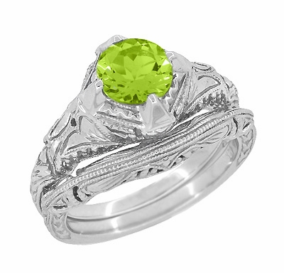 Art Deco Engraved Filigree 1.5 Carat Peridot Engagement Ring in 14 Karat White Gold - Item R161WPER - Image 2