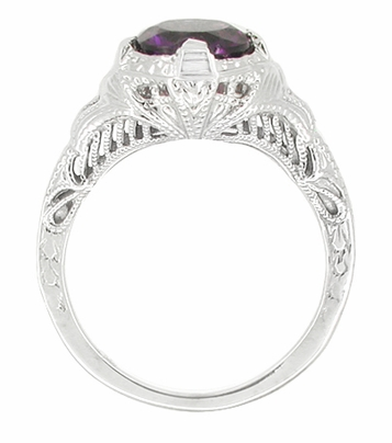 Art Deco Engraved Filigree 1 Carat Amethyst Engagement Ring in 14 Karat White Gold - Item R161WAM - Image 1
