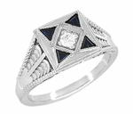 Art Deco Engraved Filigree 4 Stone Blue Sapphire and Diamond Antique Style Ring in 18 Karat White Gold