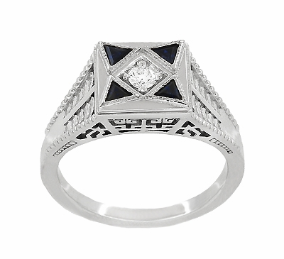 Art Deco Engraved Filigree 4 Stone Blue Sapphire and Diamond Antique Style Ring in 18 Karat White Gold - Item R862 - Image 2