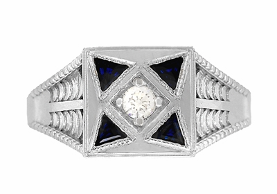 Art Deco Engraved Filigree 4 Stone Blue Sapphire and Diamond Antique Style Ring in 18 Karat White Gold - Item R862 - Image 4