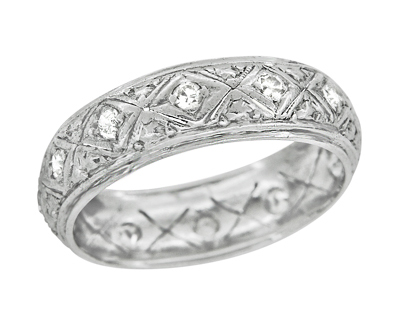 Art Deco Torrington Engraved Filigree Antique Diamond Eternity Wedding Band in Platinum - Size 6 1/4