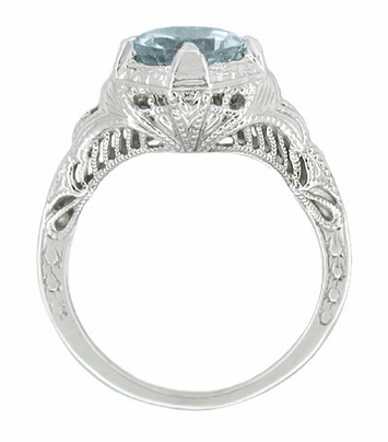 Art Deco Engraved Filigree Aquamarine Engagement Ring in 14 Karat White Gold -  1.25 Carat - Item R161WA - Image 1