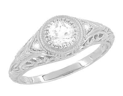 Art Deco Engraved Filigree Diamond Low Profile Engagement Ring in 14 Karat White Gold