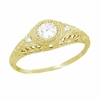 Art Deco Engraved Filigree Diamond Engagement Ring in 18 Karat Yellow Gold