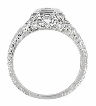 Art Deco Engraved Filigree Diamond Engagement Ring in Platinum | Heirloom Low Profile Engagement Band - Item R646P - Image 3