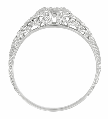 Art Deco Engraved Filigree Diamond Engagement Ring with Side Sapphires  - 14K White Gold - 1920s Low Profile Vintage Design - Item R464S - Image 1