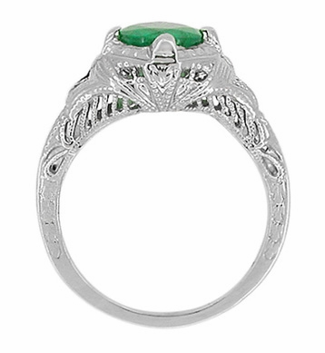 Art Deco Engraved Filigree Emerald Engagement Ring in 14 Karat White Gold - Item R410W - Image 2