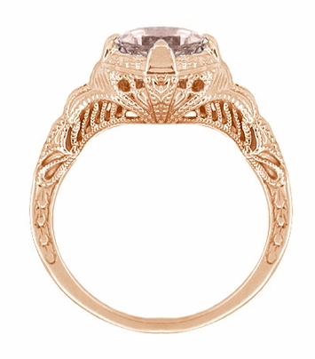 Art Deco Engraved Filigree Morganite Engagement Ring in 14 Karat Rose Gold - Item R161RM - Image 1