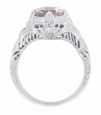 Art Deco Engraved Filigree Morganite Engagement Ring in 14 Karat White Gold | Heirloom Vintage Design - Item R161WM - Image 1