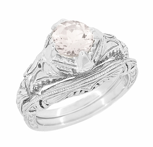 Art Deco Engraved Filigree Morganite Engagement Ring in 14 Karat White Gold | Heirloom Vintage Design - Item R161WM - Image 2