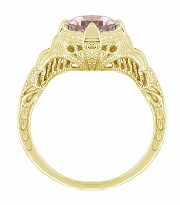 Art Deco Engraved Filigree Morganite Engagement Ring in 14 Karat Yellow Gold  - Item R161YM - Image 1