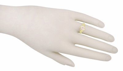 Art Deco Engraved Filigree Morganite Engagement Ring in 14 Karat Yellow Gold  - Item R161YM - Image 3