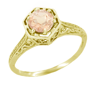 Art Deco Engraved Filigree Morganite Ring in 14 Karat Yellow Gold