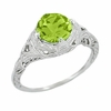 Art Deco Engraved Filigree Peridot Engagement Ring in Sterling Silver