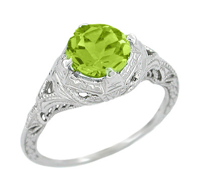 Art Deco Engraved Filigree Peridot Ring in Sterling Silver | Vintage Promise Ring