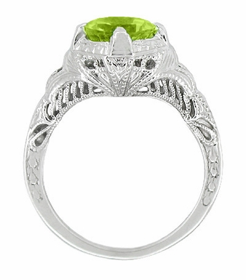 Art Deco Engraved Filigree Peridot Ring in Sterling Silver | Vintage Promise Ring - Item SSR161PER - Image 1