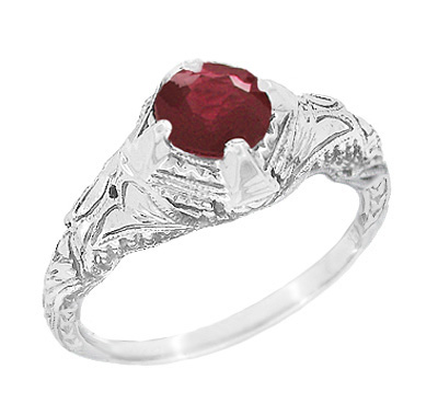Art Deco Vintage Engraved Filigree Ruby Promise Ring in Sterling Silver