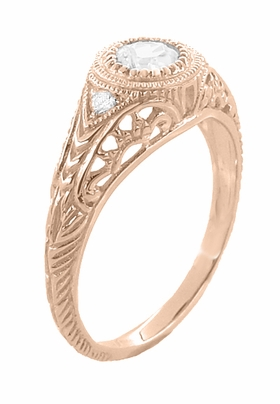 Art Deco Engraved Filigree White Sapphire Engagement Ring in 14 Karat Rose ( Pink ) Gold - Item R138RWS - Image 1