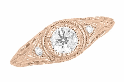 Art Deco Engraved Filigree White Sapphire Engagement Ring in 14 Karat Rose ( Pink ) Gold - Item R138RWS - Image 3