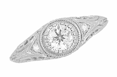 Art Deco Engraved Filigree White Sapphire Engagement Ring in 14 Karat White Gold - Item R138WS - Image 1