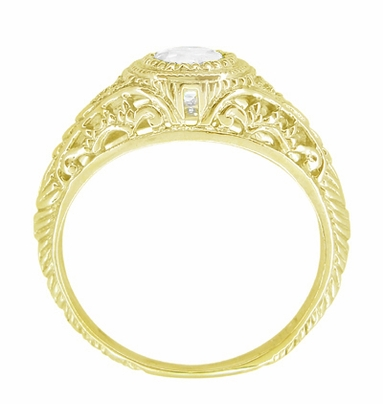 Art Deco Engraved Filigree White Sapphire Engagement Ring in 18 Karat Yellow Gold - Item R138YWS - Image 2
