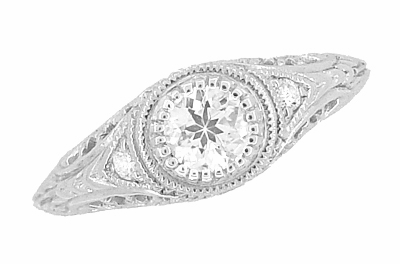 Art Deco Engraved Filigree White Sapphire Engagement Ring in Platinum - Item R138PWS - Image 1