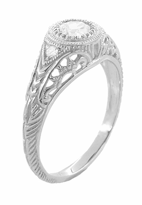 Art Deco Engraved Filigree White Sapphire Engagement Ring in Platinum - Item R138PWS - Image 3