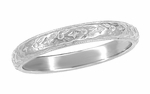 Art Deco Engraved Flowers Antique Design Wedding Band in Platinum | Size 7