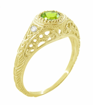 Art Deco Engraved Peridot and Diamond Filigree Engagement Ring in 18 Karat Yellow Gold - Item R138YPER - Image 2