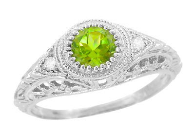 Art Deco Engraved Peridot and Diamond Filigree Engagement Ring in Platinum