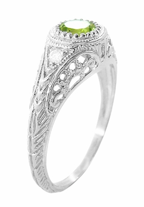Art Deco Engraved Peridot and Diamond Filigree Ring in 14 Karat White Gold - Item R138PER - Image 2