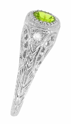 Art Deco Engraved Peridot and Diamond Filigree Ring in 14 Karat White Gold - Item R138PER - Image 3