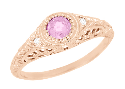 Art Deco Engraved Pink Sapphire and Diamond Filigree Engagement Ring in 14 Karat Rose Gold