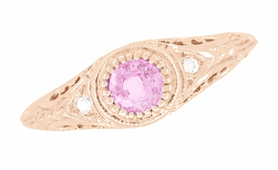 Art Deco Engraved Pink Sapphire and Diamond Filigree Engagement Ring in 14 Karat Rose Gold - Item R138RPS - Image 2