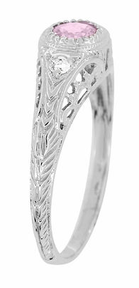 Art Deco Engraved Pink Sapphire and Diamond Filigree Engagement Ring in 14 Karat White Gold - Item R138PS - Image 2
