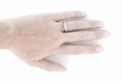 Art Deco Engraved Pink Sapphire and Diamond Filigree Engagement Ring in 14 Karat White Gold - Item R138PS - Image 4