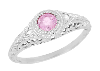 Art Deco Engraved Pink Sapphire and Diamond Filigree Engagement Ring in Platinum