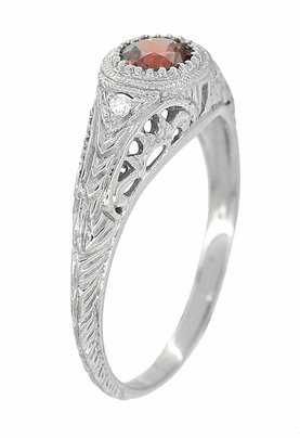Art Deco Engraved Rhodolite Garnet and Diamond Filigree Engagement Ring in 14 Karat White Gold - Item R138G - Image 1