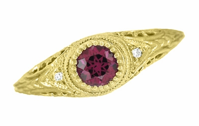 Art Deco Engraved Rhodolite Garnet and Diamond Filigree Engagement Ring in 18 Karat Yellow Gold - Item R138YG - Image 3